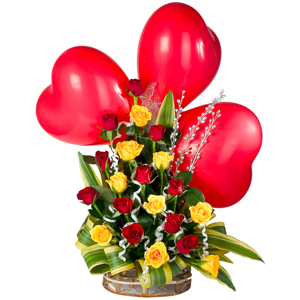 Special Arrangement with three Red Heart Shaped Balloon to India.
