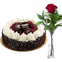 Combo of Black Forest Cake and Single Red Rose