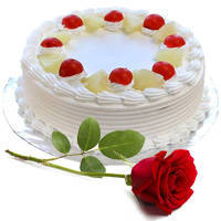 Combo of Vanilla Cake and Single Red Rose