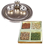Combo of Assorted Dry Fruits and a Silver Plated Puja Thali