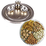 Combo of Assorted Dry Fruits and a Silver Plated Thali