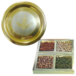 Combo of Assorted Dry Fruits and a Golden Plated Thali