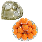 Silver Plated Paan Shaped Puja Aarti Thali (weight 52 gms) with Motichur Laddu from Haldiram