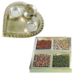 Combo of Assorted Dry Fruits and a Silver Plated Paan Shaped Puja Aarti Thali