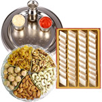 Combo of Assorted Dry Fruits, Haldirams Kaju Katli and a Special Silver Plated Puja Thali