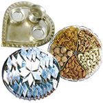 Combo of Assorted Dry Fruits, Haldirams Kaju Katli and a Silver Plated Paan Shaped Puja Aarti Thali