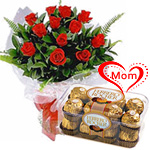 Send 12 Red Roses with 16 Pcs. Ferrero Rocher Box  to India.