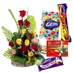 Combo of 12 Red Roses, Chocolates and Teddy