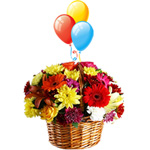 Combo of Mixed Flowers and Balloons