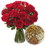 Combo of Mixed Dry Fruits and 12 Red Roses