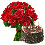 Combo of Black Forest Cake and Red Roses