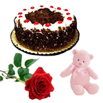 Combo of Black Forest Cake, Chocolates and Teddy