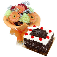 Combo of Black Forest Cake and Seasonal Flowers