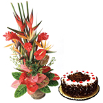 Combo of Black Forest Cake and Arrangement of Mixed Flowers