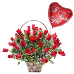 Combo of Red Roses and Heart Shaped Balloon