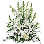Basket of White and Yellow Flowers