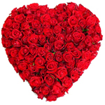 Heart Shaped Arrangement of 101 Red Roses