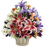 Mixed Lilies in a Basket