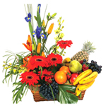 Flowers and Fresh Fruits in a Basket