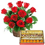 Combo of 18 Red Roses and Mixed Sweets